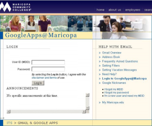 Maricopa Student Gmail Login Page