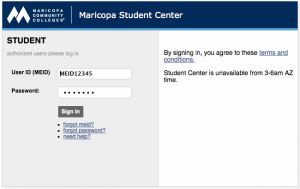My.Maricopa.edu Login Page