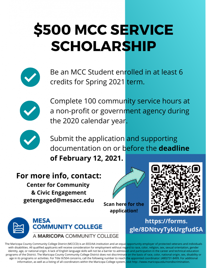 MCC Service Scholarship | Community & Civic Engagement | Mesa