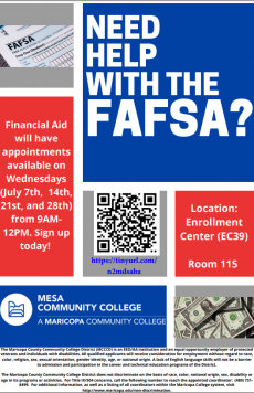 FAFSA help appointments July 7, 14, 21 and 28, 2021
