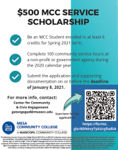 $500 MCC Service Scholarship Flyer that links to the scholarship app