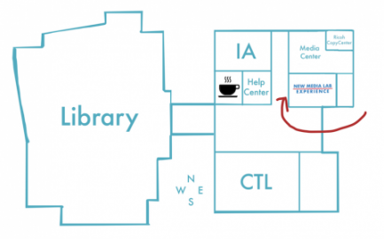 The Lab is located east of the library, between the Help Center and Media Center, across the hall from the CTL