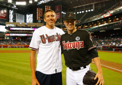 Pau Tonnensen with Arizona Diamondbacks All-Star pitcher Patrick Corbin.