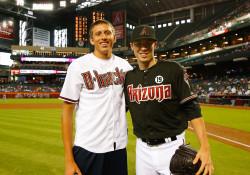 Pau Tonnensen with Arizona Diamondbacks All-Star pitcher Patrick Corbin.