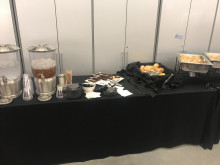 Food setup in green room of PAC