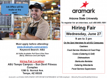 Aramark at ASU Hiring Event June 27th