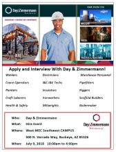 Day & Zimmermann Hiring Event on July 6th