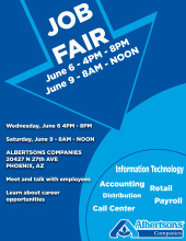 Albertsons Job Fair June 6th and June 9th