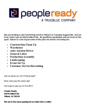 People Ready Hiring Event August 6th