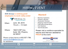 SVS Group Hiring Event June 26th